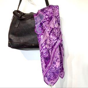 Vintage Vera silk square purple scarf marble wrap